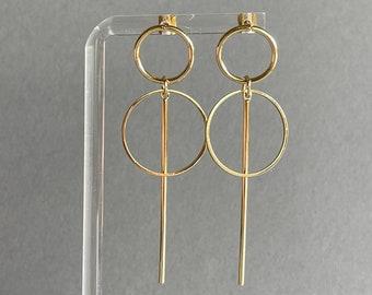 Circle bar drop earrings, double circle studs, gold geometric earrings, minimalist earrings, statement earrings, golden drop earrings