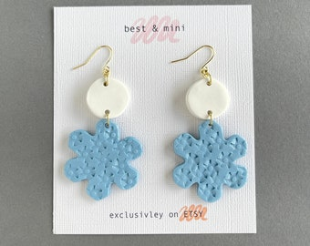Snowflake earrings, winter theme earrings, Christmas earrings, polymer clay statement earrings, Frozen earrings, unique boho earrings