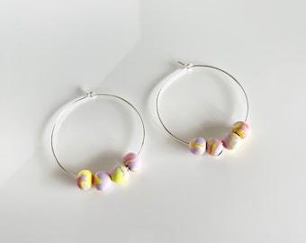 Clay bead hoops, beaded hoop earrings, polymer clay bead earrings, statement hoops, minimalist earrings, multi color hoop earrings, hoops