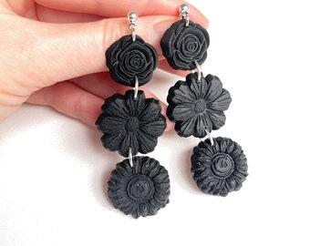 Flower drop earrings, black floral earrings, polymer clay earrings, black statement earrings, unique boho earrings, black flower earrings