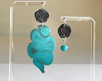 Asymmetric snake earrings, turquoise clay earrings, statement earrings, unique design earrings, stylish earrings, rose snake earrings