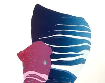 Okapi Woodblock Print