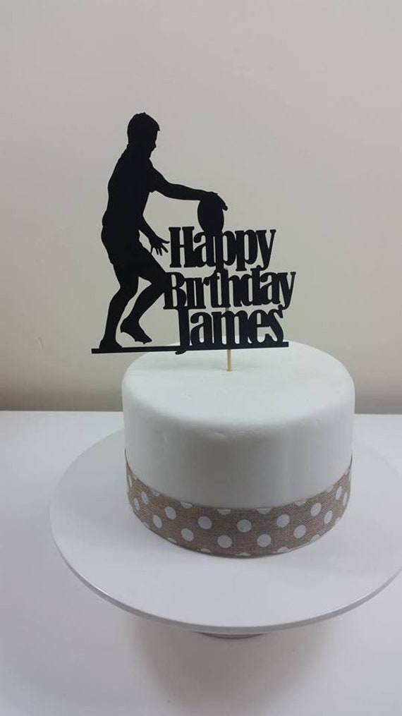 Personalised Rugby Card Cake Topper Birthday