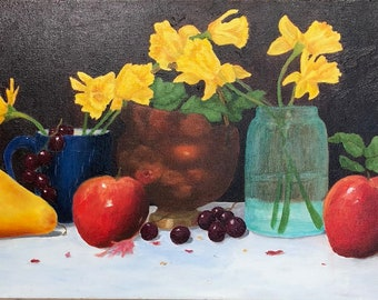 Still Life of Yellow Daffodils with Fruit
