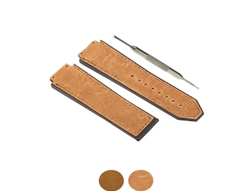 141f3eeb3b6 19x25mm Brown Leather Watch Strap Band Fits For Hublot Big Bang Watches +  Gift Tool