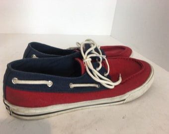 3bb54b85f Tommy Hilfiger Mens Boat Shoes Sz 10.5 Canvas Bowman Philo Red White Blue  Casual