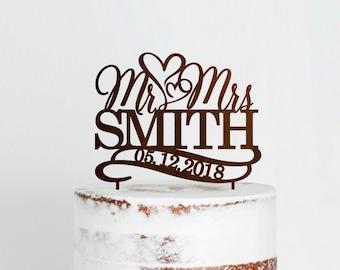 Mr Mrs Wedding Cake Topper, Wedding Rustic Cake Topper, Custom Cake Toppers for Weddings, Heart Cake Topper, Custom Wedding Cake Topper