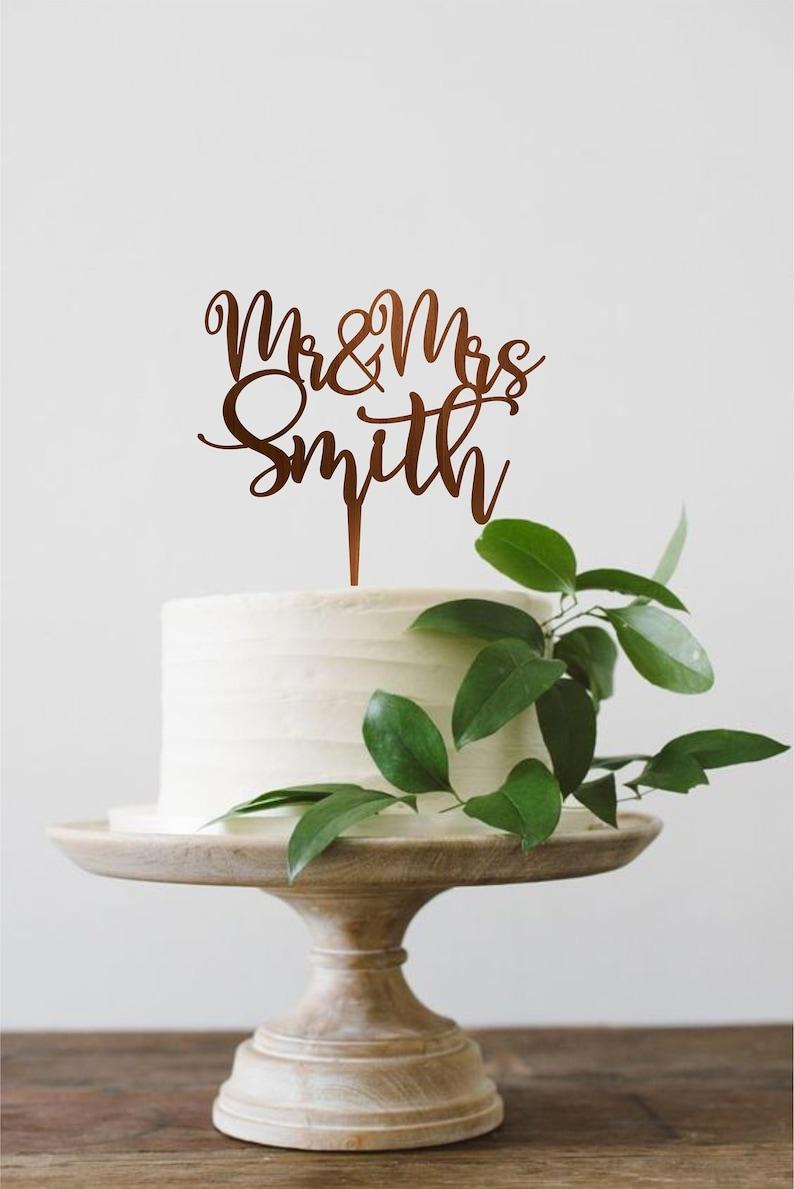 Surname wedding cake topper Custom Wedding Cake Topper image 0