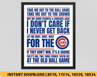 photo relating to Printable Cubs Schedule referred to as Chicago cubs print Etsy