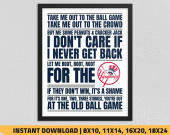 45f1ef0df1c Printable New York Yankees - Take Me Out to the Ball Game Wall Art