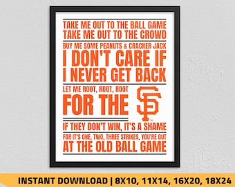 photograph relating to Sf Giants Printable Schedule named Sf giants print Etsy
