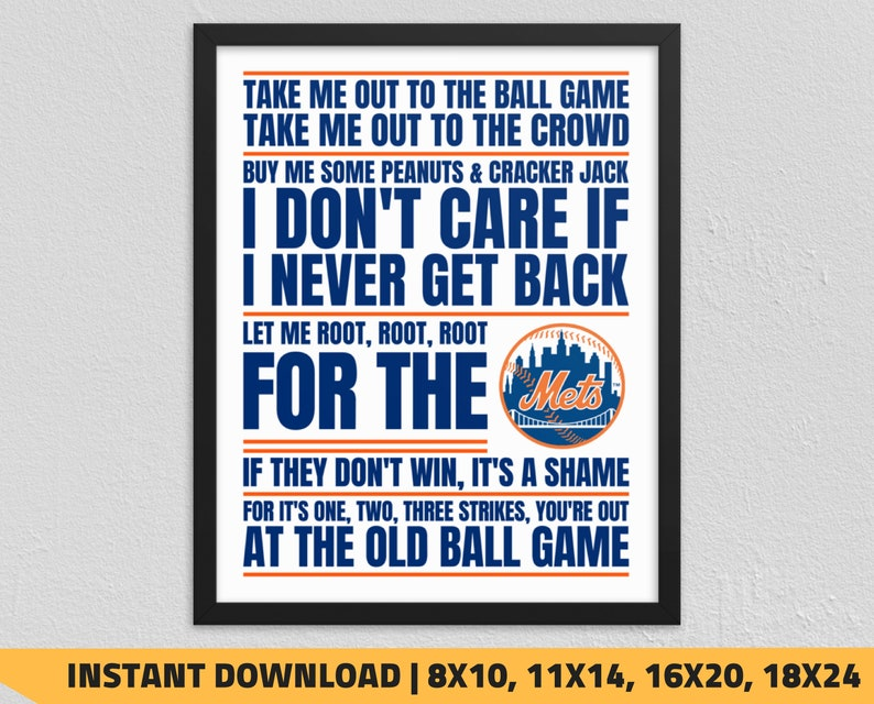 picture regarding Printable Mets Schedule known as Printable Fresh York Mets - Just take Me Out in direction of the Ball Recreation Wall Artwork