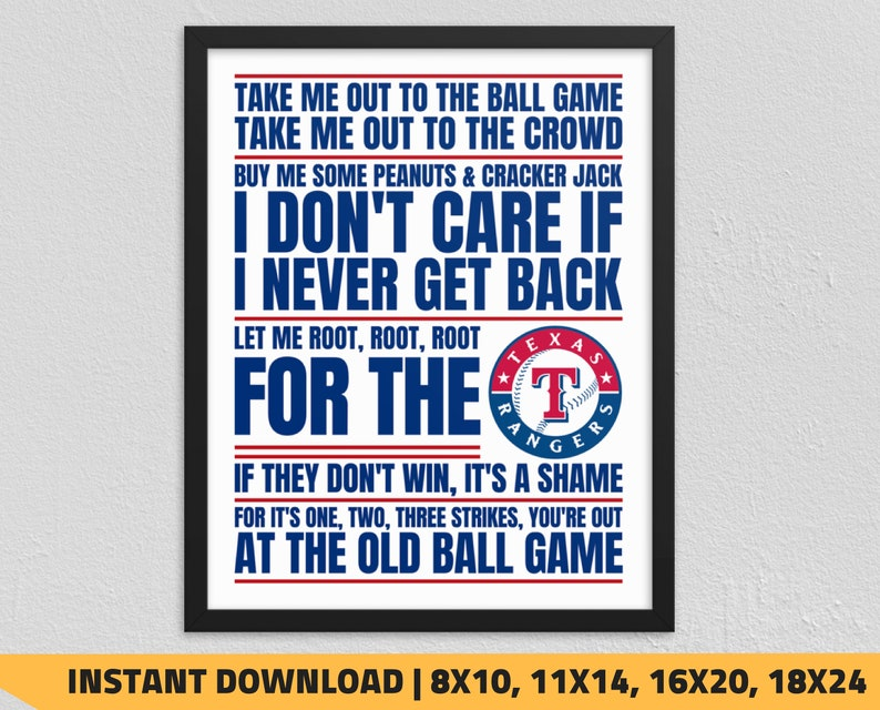 photo relating to Texas Rangers Schedule Printable identify Printable Texas Rangers - Just take Me Out in direction of the Ball Recreation Wall Artwork