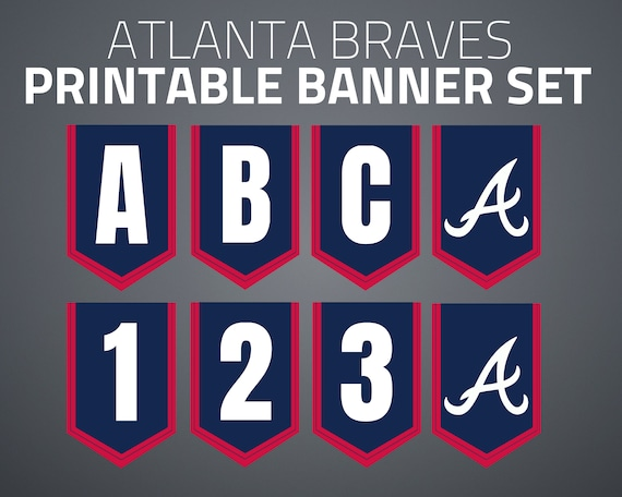 photograph relating to Braves Printable Schedule titled Printable Atlanta Braves Banner Preset