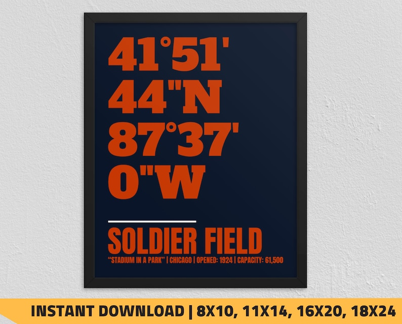 photo about Chicago Bears Schedule Printable named Printable Chicago Bears - Soldier Industry Coordinates Print