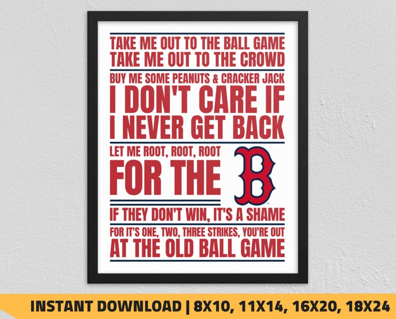 photograph relating to Red Sox Printable Schedule identified as Printable Boston Purple Sox - Consider Me Out toward the Ball Sport Wall Artwork