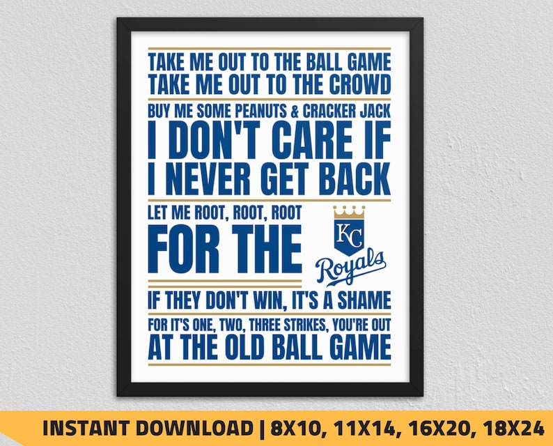 photograph relating to Kc Royals Schedule Printable identified as Printable Kansas Town Royals - Choose Me Out in the direction of the Ball Match Wall Artwork
