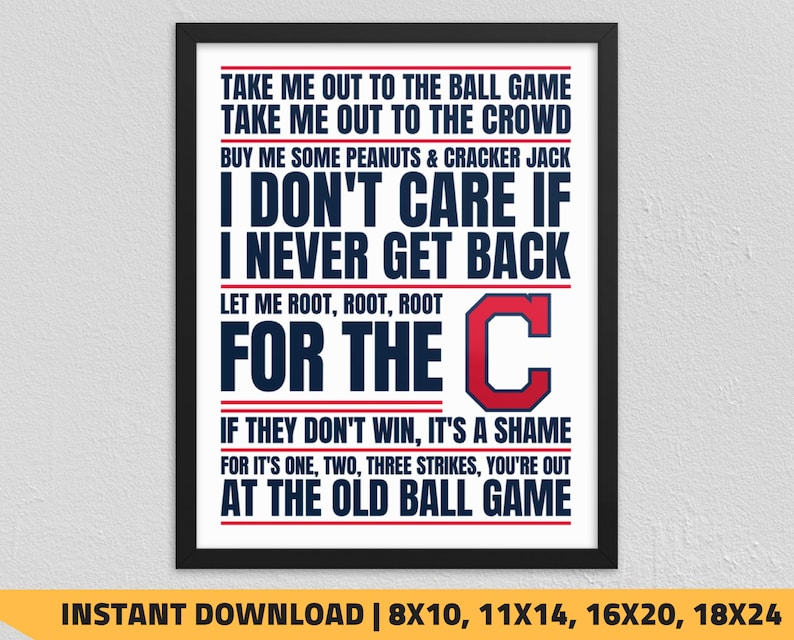 image about Indians Schedule Printable named Printable Cleveland Indians - Just take Me Out toward the Ball Video game Wall Artwork
