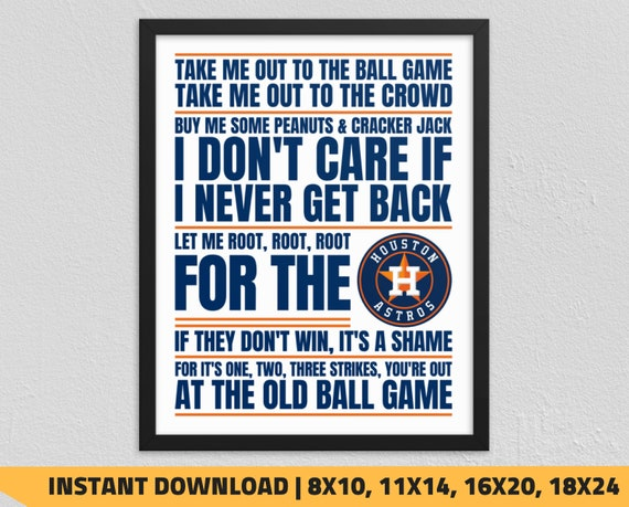 photo relating to Astros Printable Schedule identified as Printable Houston Astros - Consider Me Out in the direction of the Ball Activity Wall Artwork