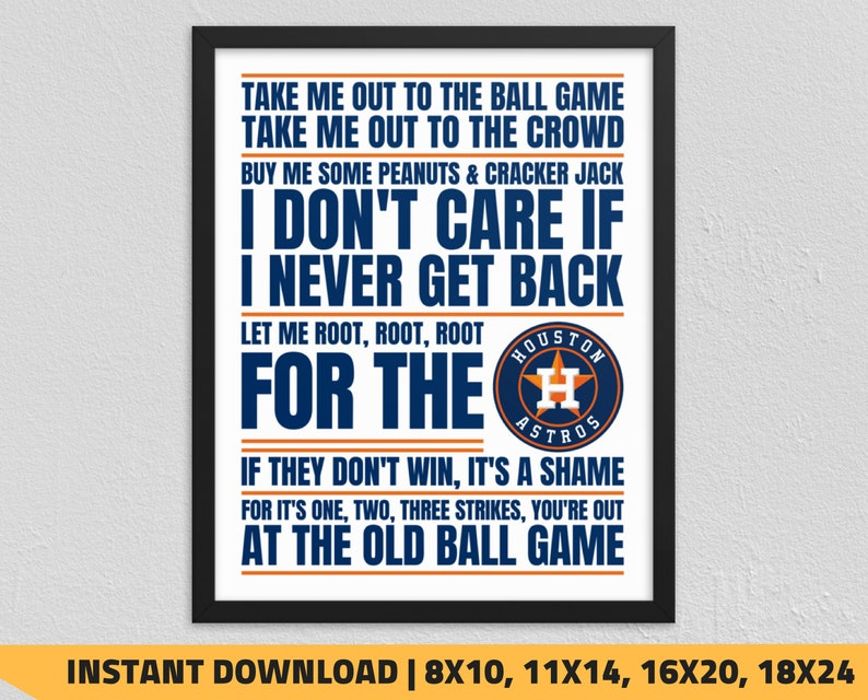 photo regarding Astros Schedule Printable named Printable Houston Astros - Choose Me Out towards the Ball Match Wall Artwork