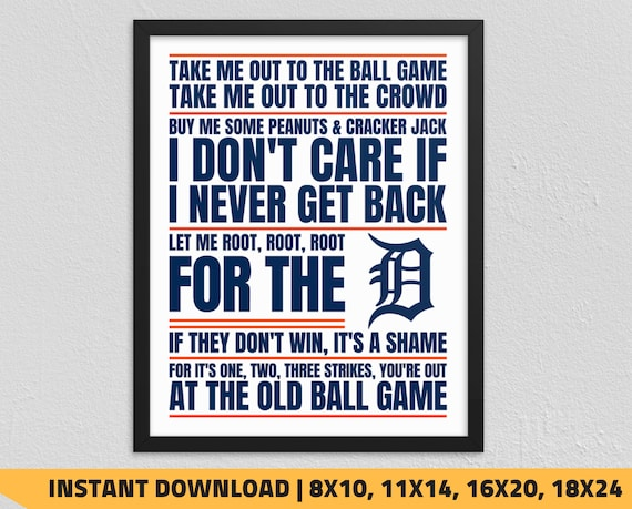 graphic relating to Printable Detroit Tigers Schedule known as Printable Detroit Tigers - Consider Me Out towards the Ball Activity Wall Artwork