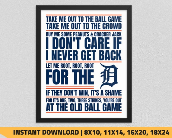 photograph relating to Detroit Tigers Printable Schedule identified as Printable Detroit Tigers - Get Me Out in the direction of the Ball Video game Wall Artwork