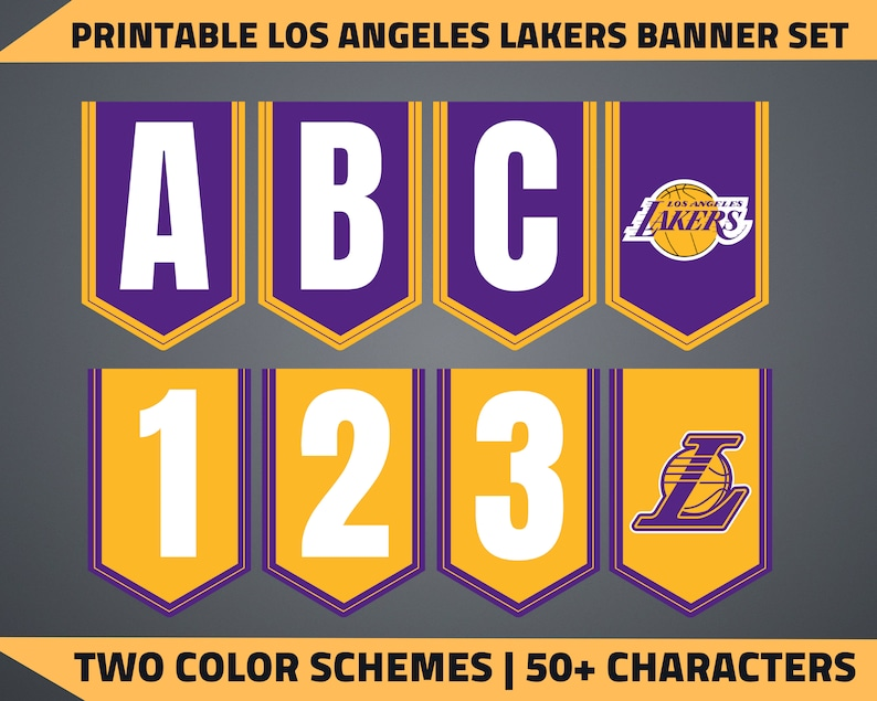 picture relating to Lakers Schedule Printable referred to as Printable Los Angeles Lakers Banner Preset