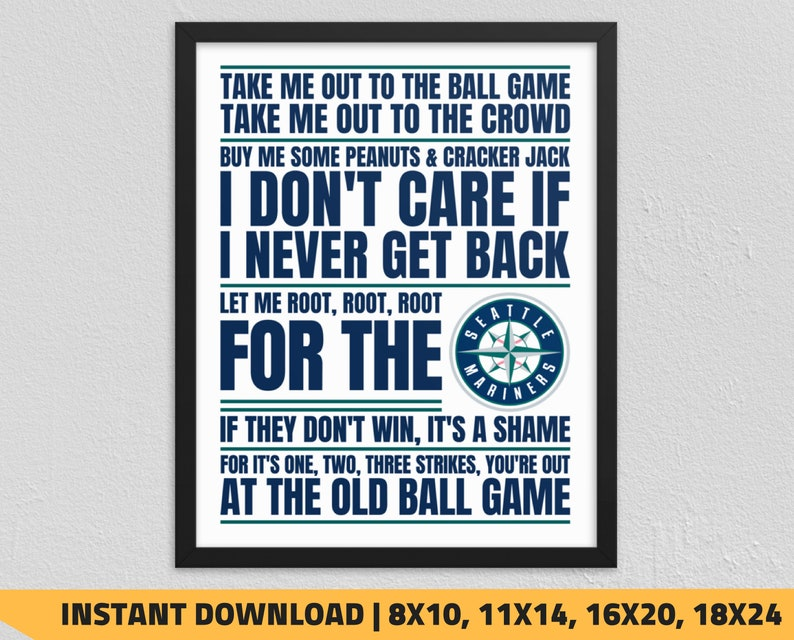 photo about Mariners Printable Schedule identified as Printable Seattle Mariners - Consider Me Out towards the Ball Video game Wall Artwork