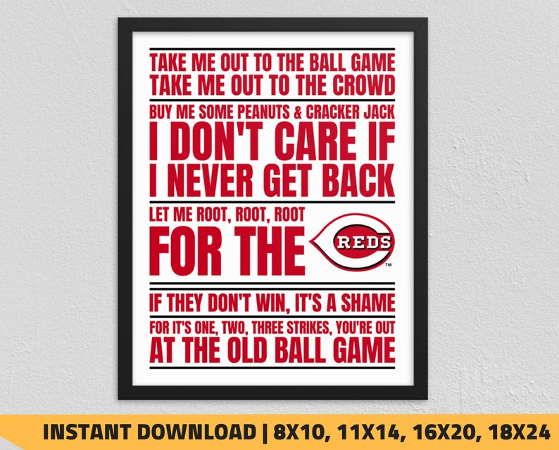 photograph relating to Cincinnati Reds Printable Schedule referred to as Printable Cincinnati Reds - Just take Me Out towards the Ball Activity Wall Artwork