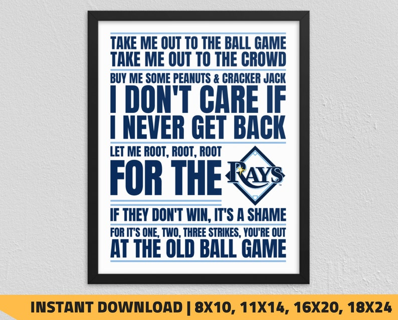 image relating to Rays Printable Schedule identified as Printable Tampa Bay Rays - Just take Me Out in the direction of the Ball Sport Wall Artwork