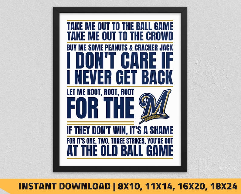 photograph regarding Printable Brewers Schedule identified as Printable Milwaukee Brewers - Choose Me Out in direction of the Ball Match Wall Artwork