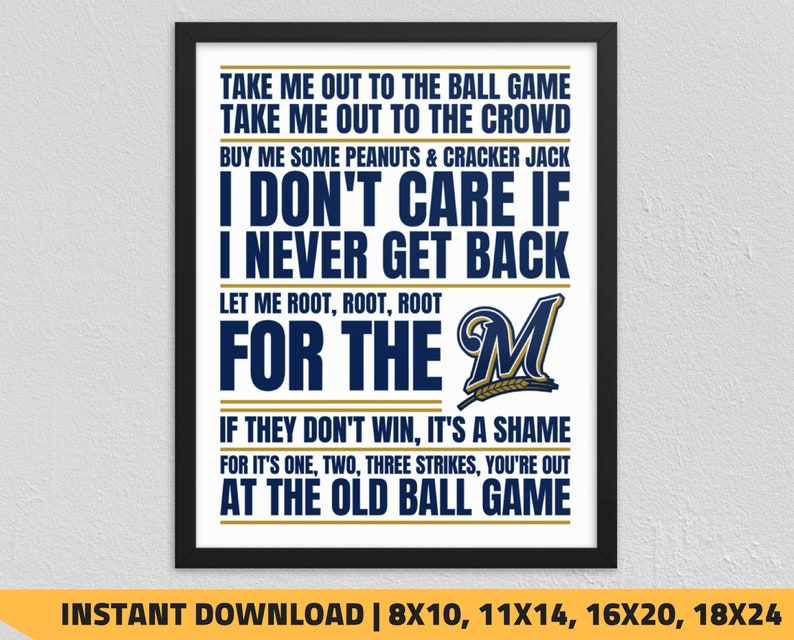 picture regarding Brewers Printable Schedule identified as Printable Milwaukee Brewers - Just take Me Out in direction of the Ball Recreation Wall Artwork