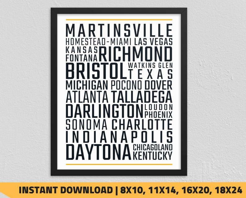photograph regarding Printable Nascar Schedule called Printable NASCAR Race Tunes Typography Wall Artwork