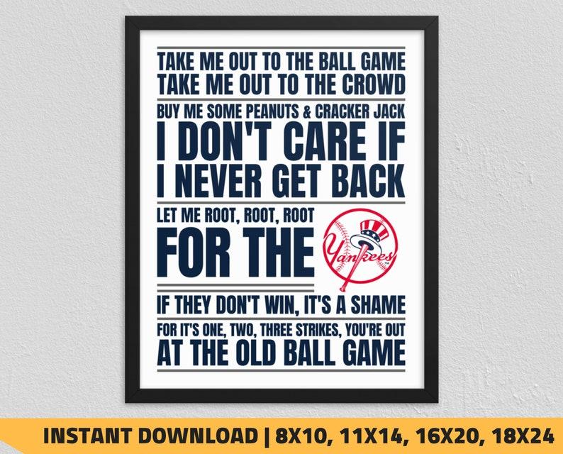 photo regarding New York Yankees Printable Schedule titled Printable Contemporary York Yankees - Get Me Out toward the Ball Sport Wall Artwork