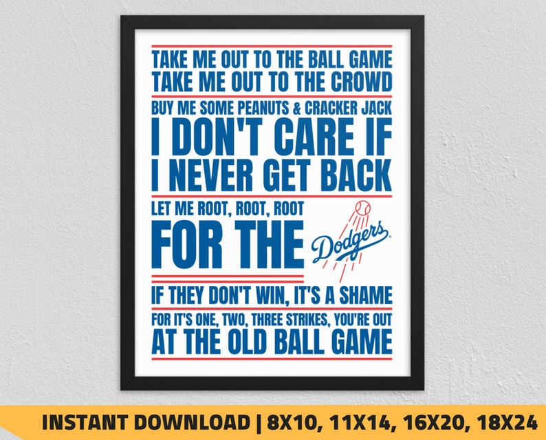 graphic regarding Dodger Schedule Printable called Printable Los Angeles Dodgers - Get Me Out in the direction of the Ball Recreation Wall Artwork