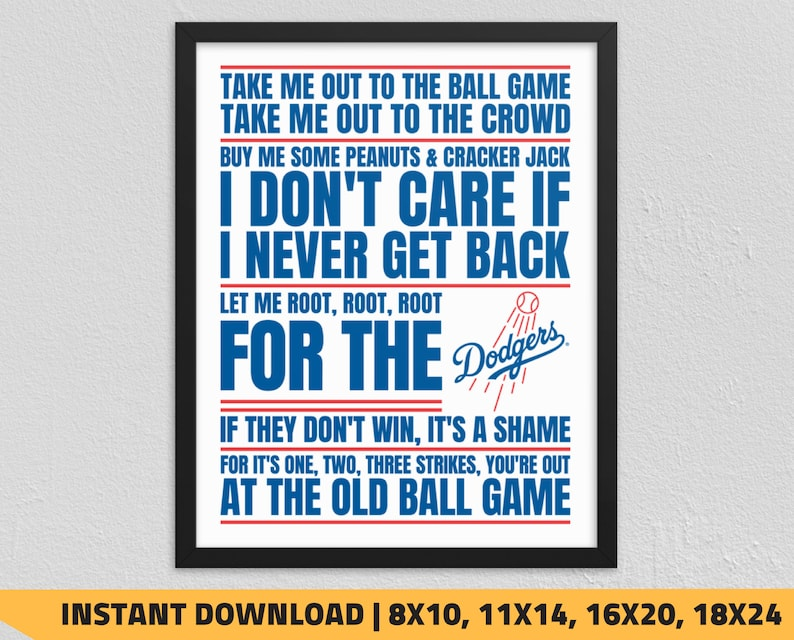 graphic relating to Dodgers Schedule Printable referred to as Printable Los Angeles Dodgers - Get Me Out toward the Ball Recreation Wall Artwork