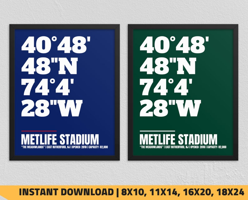 photograph relating to New York Giants Printable Schedule named Printable Refreshing York Giants - Fresh York Jets - MetLife Stadium Coordinates Print