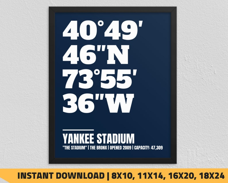 image regarding Yankees Schedule Printable identified as Printable Contemporary York Yankees - Yankee Stadium Coordinates Wall Artwork Print