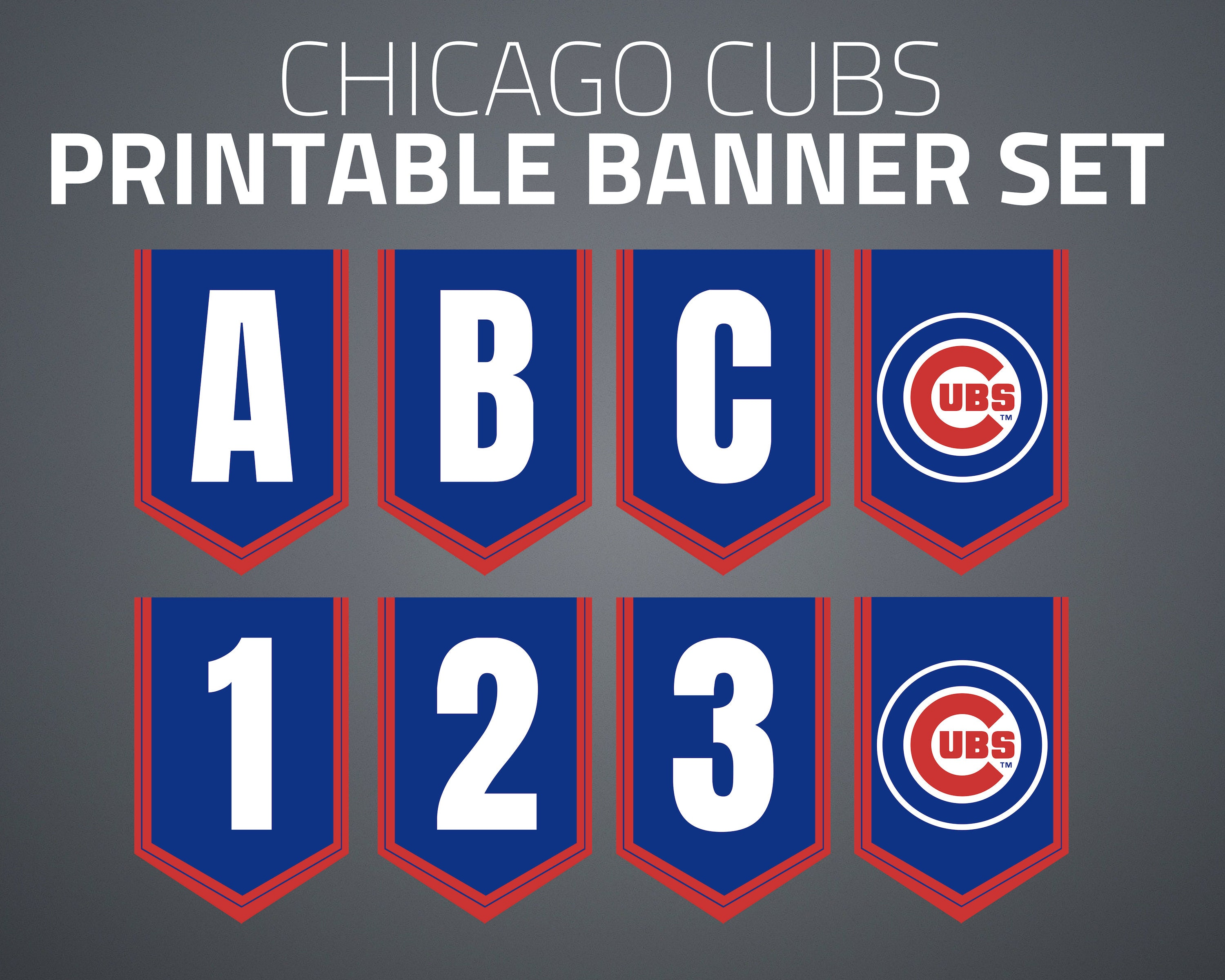 photo regarding Printable Cubs W Flag identified as Printable Chicago Cubs Banner Fastened
