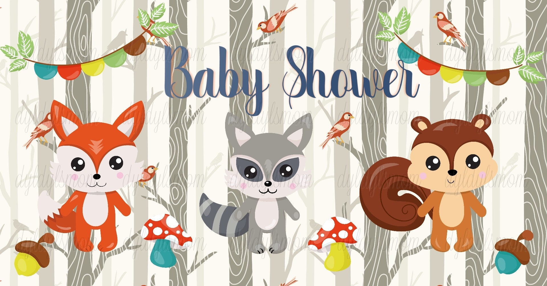 Woodland Creatures Baby Shower Facebook Event Cover Photo -9033