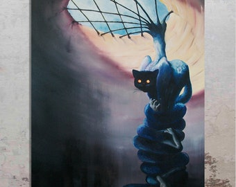 """ORGINAL surreal oil painting on canvas titled """"The Cat"""" – UNSTRETCHED and UNFRAMED (27.5''x 39.5''= 70 x 100cm) by Andrzej Krupinski."""