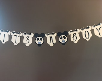 nightmare before christmasjack skellingotn babyshower bannerhalloween themebabyshower bannerits a boyjack skellingotn inspired