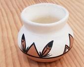 Tigua Pueblo Native American Miniature Pottery Vase - Signed by Artist