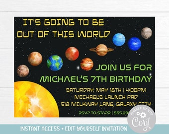 Galaxy Birthday Invitation Download Out Of This World Space Exploration Solar System Planets Boy Instant Corjl