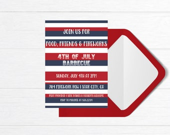 food friends fireworks 4th of july barbecue invite july 4th etsy