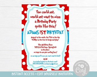 Dr Seuss Birthday Invitation Download First Boy Printable Invitations Corjl 1st Invites
