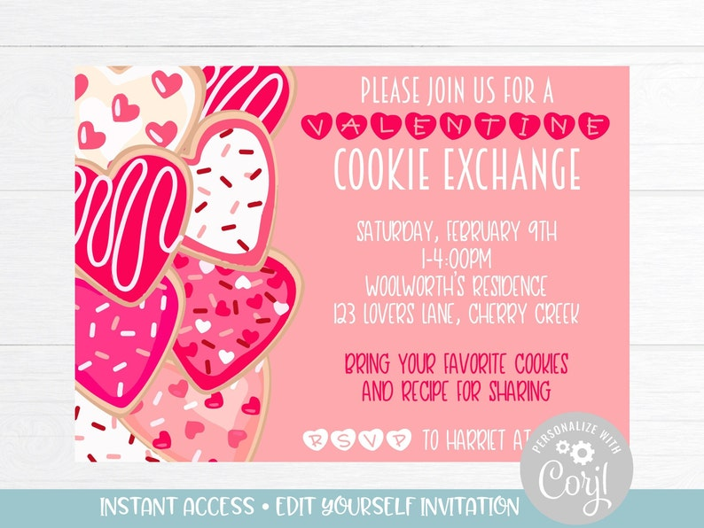 Valentines Day Cookie Party Invitations Galentines Day Cookie Swap Invitation Valentines Cookie Exchange Party Invitation Instant Download