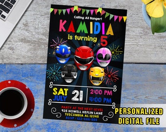 Power Ragers Invitation,Power Rangers Birthday,Power Rangers Party,Power Rangers Birthday Invitations,Power Rangers Invite,Rangers-F1125