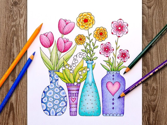 Printable Digital Coloring Page for Grownups HELLO SPRING
