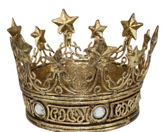 "Gold Iron Crown with Gold Star Accents and Clear ""Crystal"" Insets for Center Piece, Decorative Accessory"